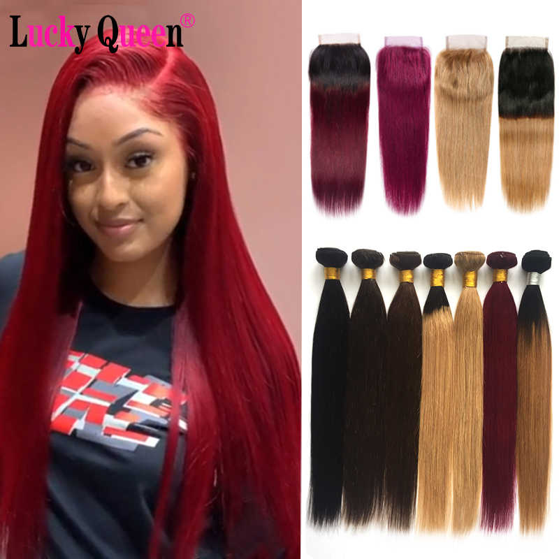 Brazilian Straight Hair Bundles With Lace Closure #99/#27/Burgundy Non-Remy Ombre Color Human Hair Bundles With Closure