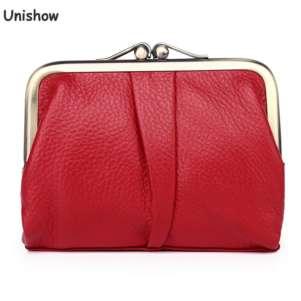 Unishow Women Leather Wallet Small Women Purse Brand Designer Ladies Wallet Genuine Leather Female Coin Purse Mini Girl Wallet
