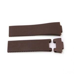Image 5 - Rolamy sangle de rechange étanche en caoutchouc Silicone, noir marron bleu, 22*10mm/25*12mm, bracelet de montre pour Ulysse Nardin