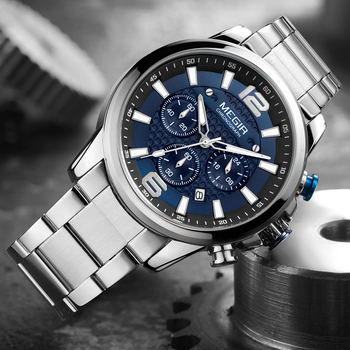 MEGIR Top Luxury Brand Watch Full Steel Mens Sport Quartz Wrist Men Luminous Waterproof Chronograph Military Date Clock - discount item  80% OFF Men's Watches