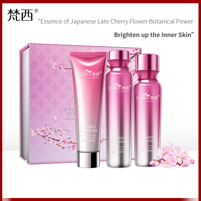 Image 2 - Fonce Korea Cherry Blossom Tender Color Set Hydrating, Moisturizing, Refreshing And Brightening Skin Repair Essence Lotion-in Serum from Beauty & Health