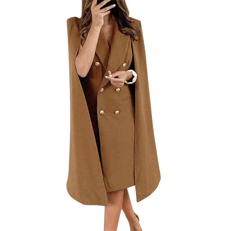 Fashion New  Womens Lapel Cape Cloak Blazer Coats Ladies Formal Office Suit Dress Outwear Casual Women Button Long Sleeve Blazer