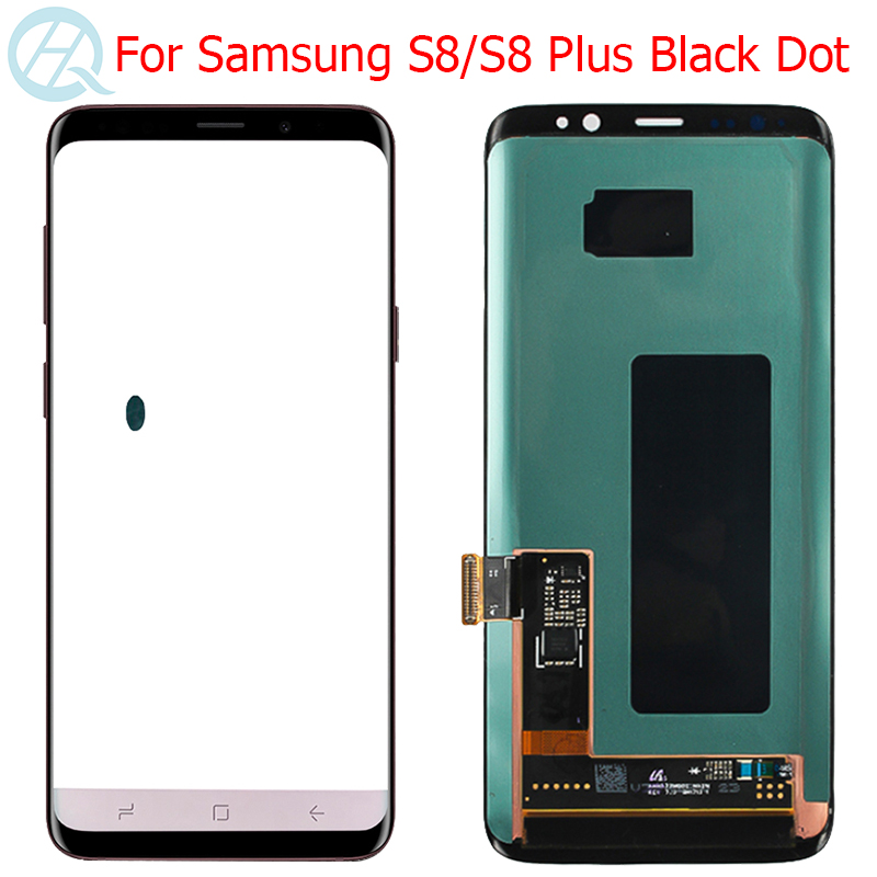 Original Super AMOLED <font><b>S8</b></font> Plus <font><b>Display</b></font> For Samsung <font><b>Galaxy</b></font> <font><b>S8</b></font> G950F <font><b>S8</b></font> Plus G955F LCD With Frame Touch Screen Assembly Black Dot image