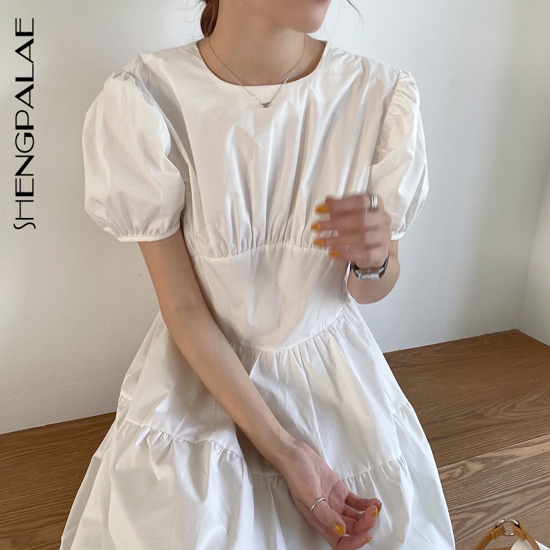 SHENGPALAE 2020 New Fashion Summer Women Vintage Loose High Waist Slim Was Thin Elegant Folds Short Sleeve Maxi Dress ZA4124