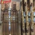 Роскошные полузатемненные шторы с вышивкой в скандинавском дворцовом стиле для гостиной  коричневые/синие шторы из синели  драпировка на о...