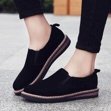 2020 נעלי מוקסינים אישה נשי אמיתי עור פרה זמש בציר בריטי בוהן עגול רך פלטפורמת דירות גבירותיי מזדמנים אוקספורד