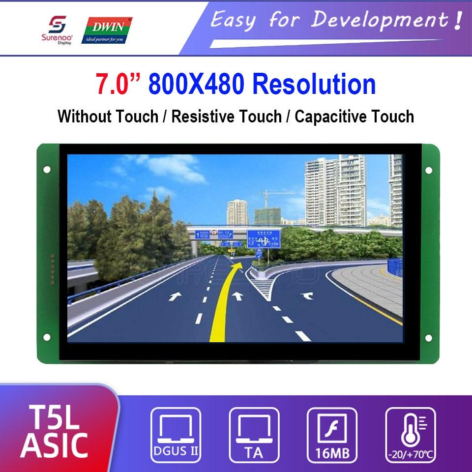 "Dwin T5L HMI Intelligent Display, DMG80480C070_03W 7.0"" 800X480 LCD Module Screen Resistive/Capacitive Touch Panel"