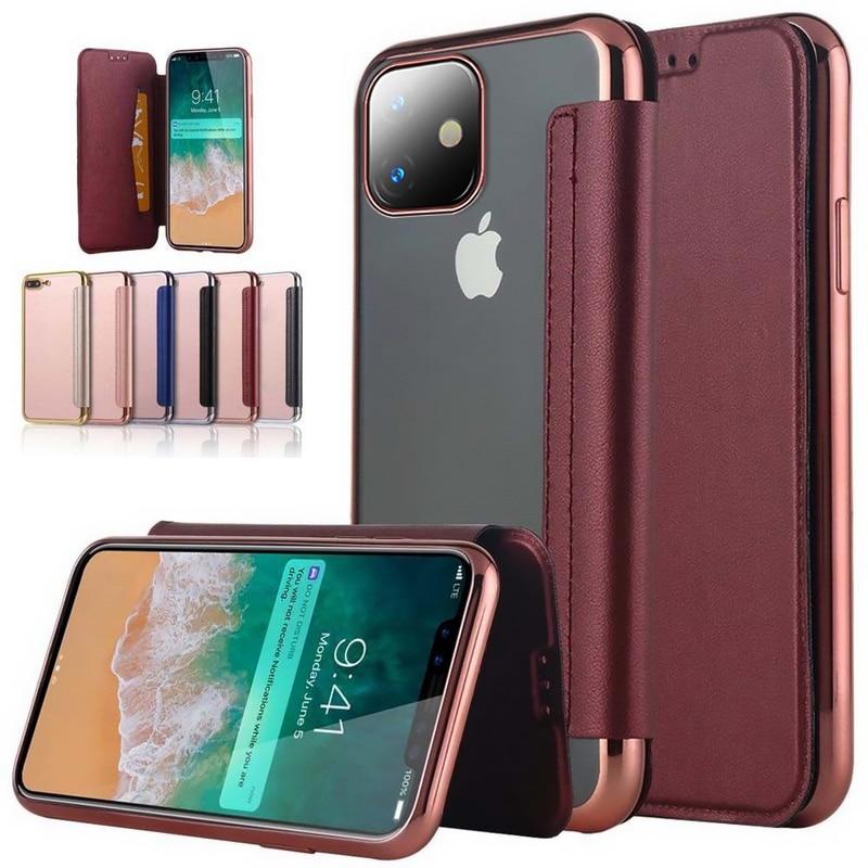 Étui pour iphone X 10 XR XS Max 5 5S SE 6 6S 7 8 8 Plus 11 fentes pour cartes Pro couvercle transparent