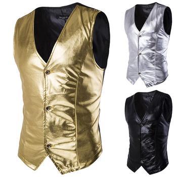Stylish Men Sleeveless Gold Stamping Single-breasted Slim Waistcoat Business Top Single-breasted Gold Stamping Slim Waistcoat