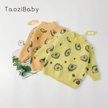 Childrens Wear Girls Avocado Mink like Sweater Childrens Autumn New Knitted Clothes Girls Top Kids Winter Sweater