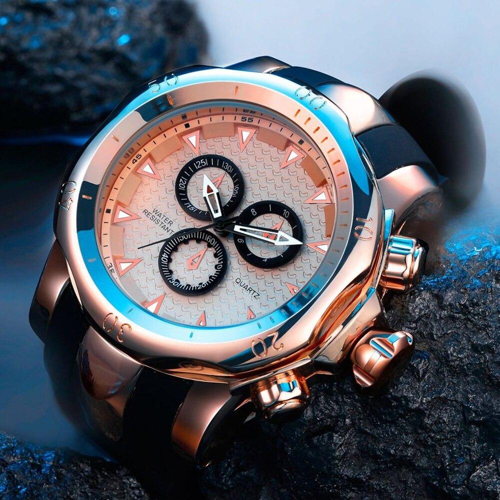 Top Marke Echte männer uhren sport uhr GROßE Zifferblatt gold quarzuhr Spezielle geschenk für männer Klettern Armbanduhren montre homme - 4