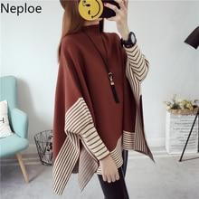 Neploe полукруглый пуловер свитер женский осень зима летучая мышь крест Pull Femme Осень Зима корейский вязаный 46649