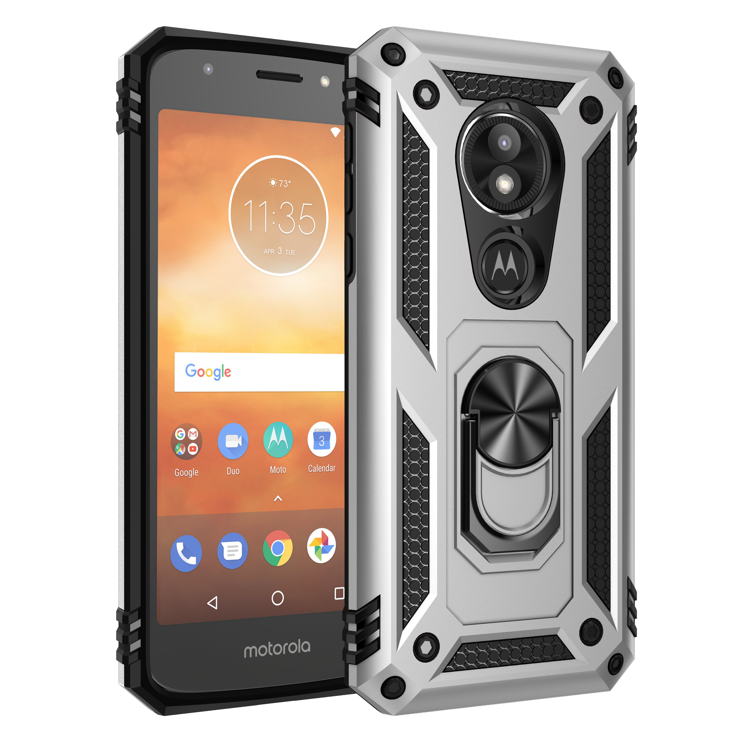 Armor Shockproof Bumper Phone Case For MOTO G6 G7 E6 P40 Z4 E5 One Zoom Play Pro Plus Power Play Ring Stand Holder Back Cover