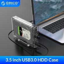 ORICO 3.5 cala SATA na USB 3.0 obudowa HDD ze wspornik do uchwytu 12TB Max przezroczysta obudowa dysku twardego