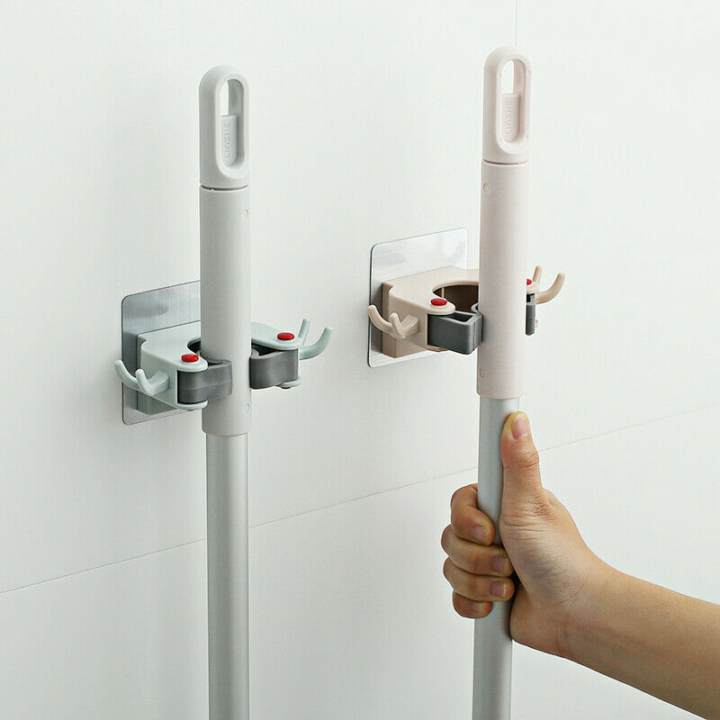 2020 HOT Dual Rack Wall Mounted Mop Bar Holder Rack Adjustable Clip Self Adhesive Broom Brush Holder Umbrella Handle Hanger Hook