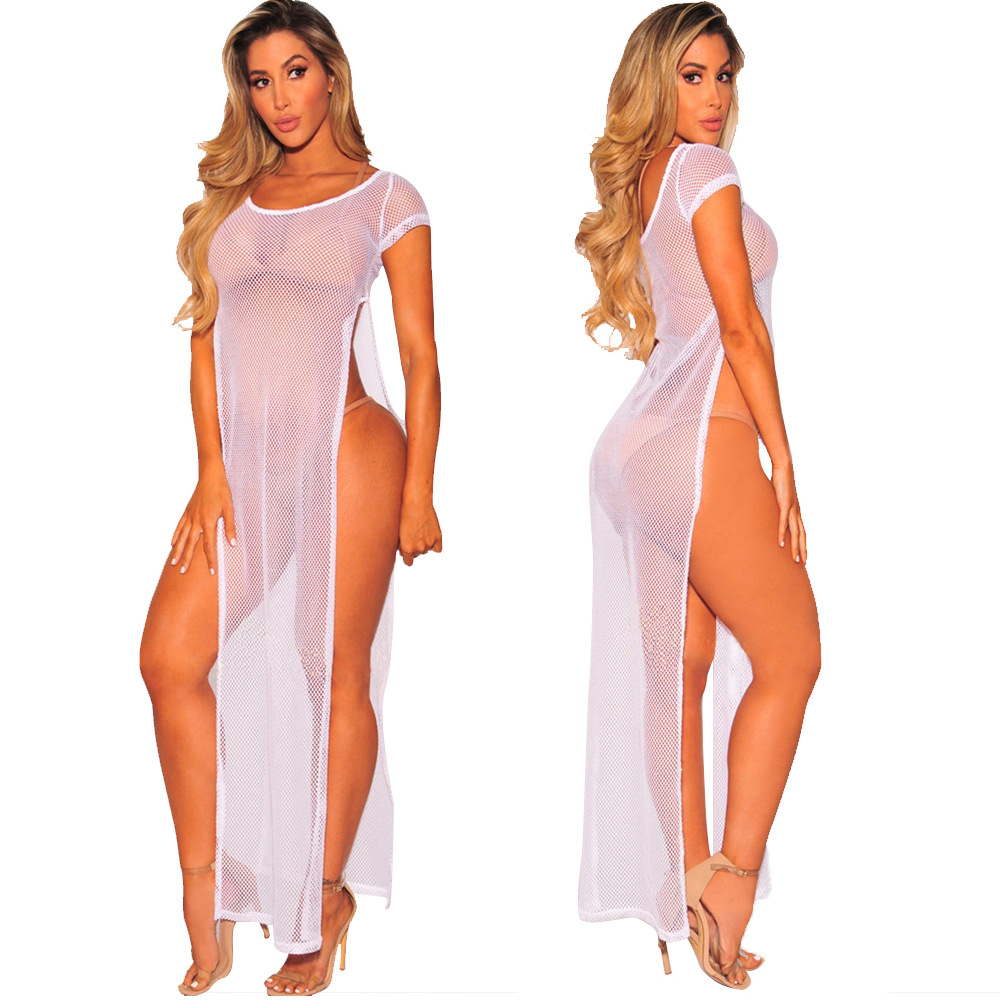 S-XXL Women's Sexy Swimsuit High split Cover Ups Beach Bikini See Through Swimwear Maxi Dresses