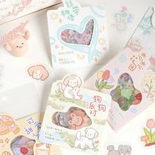 1 pacote (40 pçs adesivos) kawaii filhote de cachorro flores fita pvc adesivos decorativos