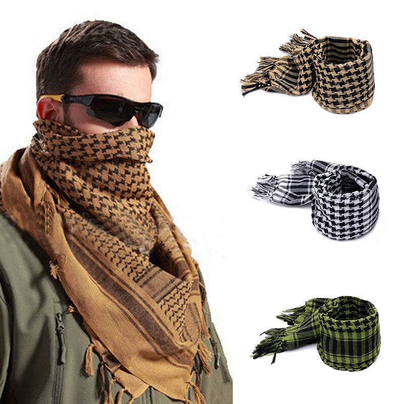 Winter Casual Men Plaid Tassels Warm Soft Wraps Scarves Lightweight Military Arab Tactical Desert Army Shemagh KeffIyeh