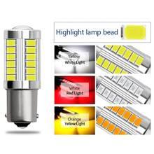 Luz LED de reserva de apoyo para coche, Bombilla de freno de Motor, luces de circulación diurna, Blanco/Rojo/señal amarilla, 1156, 33 SMD, DC12V, 30W, 2 uds.