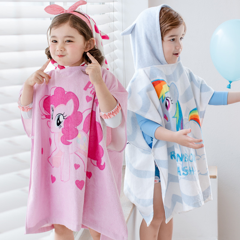 2019 New Style Cartoon My Little Bath Towel For Children Baby Hot Springs Water-Absorbing Swimming Hooded Cloak Bath Towel
