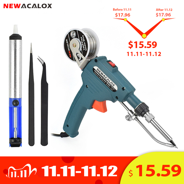 NEWACALOX 110V/220V 60W US/EU Hand held Internal Heating Soldering Iron Automatically Send Tin Gun Soldering Welding Repair Tool