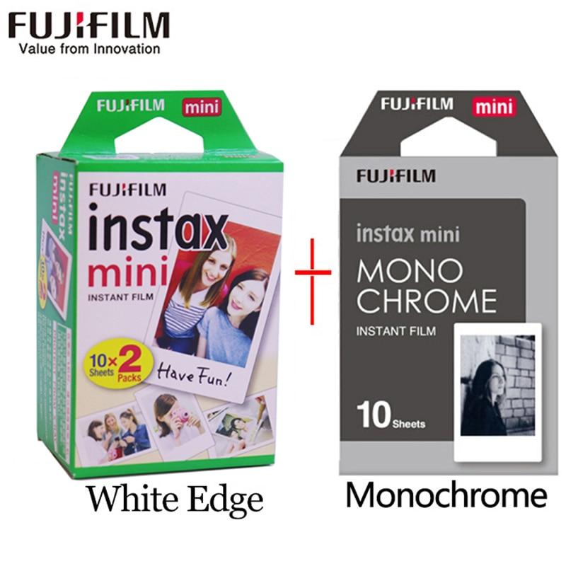 Пленка Fujifilm instax mini, 20 листов, белая кромка + 10 листов, черно-белая монохромная пленка для мгновенной камеры mini 8, 7s, 25, 50s, 9