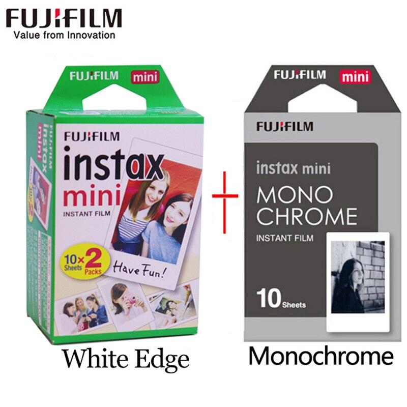 Fujifilm instax mini filme 20 folhas borda branca + 10 folhas preto e branco filme monocromático para câmera instantânea mini 8 7s 25 50s 9