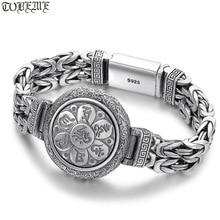 100% 925 Silver Tibetan Longevity Bracelet Tibetan Six Words Bracelet