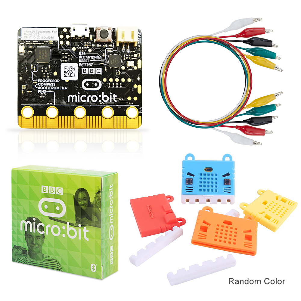 Official BBC Micro:bit Project Starter Kit Include Micro:bit Board And  Microbit Board Case With Alligator Clips