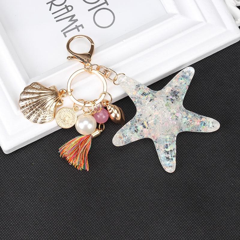 Fashion Starfish Keychain Key Ring Bag Pendant Birthday Gift Key Hook