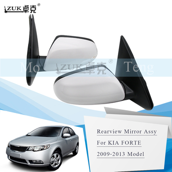 ZUK 2PCS Outer Rearview Side Mirror Assy For KIA FORTE 2009 2010 2011 2012 2013 3PINS 5PINS Base Color Backup Mirror
