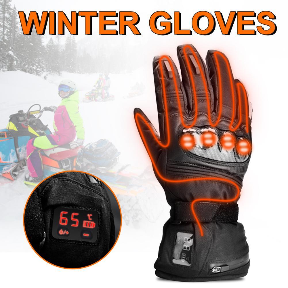 Перчатки с цифровым дисплеем с электрическим подогревом, кожаные водонепроницаемые теплые электрические перчатки, зимние уличные мужские и женские перчатки для катания на лыжах - 3