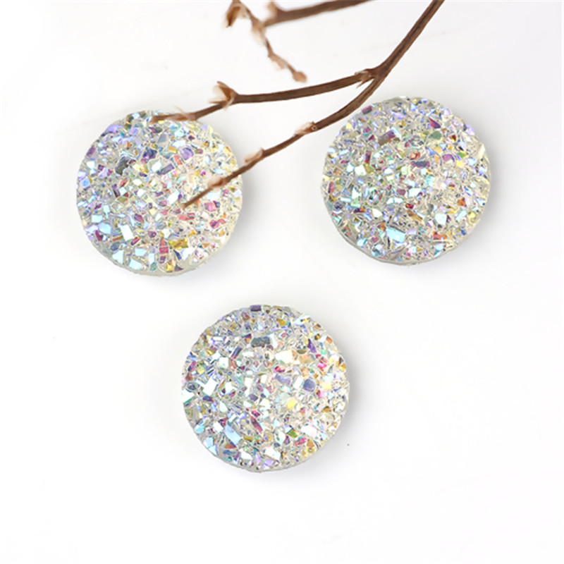 DoreenBeads Fashion Resin Druzy/ Drusy Dome Seals Cabochon Round White AB Color Jewelry DIY Findings 12mm( 4/8