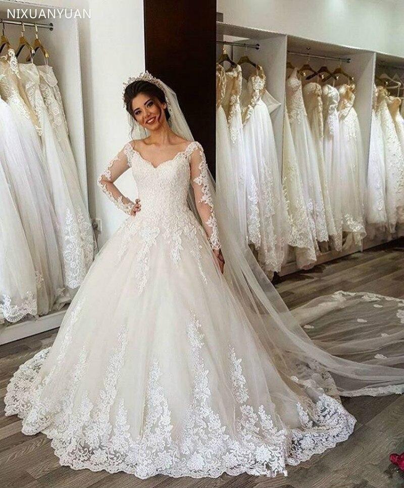 Robe De Mariee Dubai White Wedding Dress Luxury Appliques Lace Wedding Gown Dresses Wedding Vestidos De Novia 2020