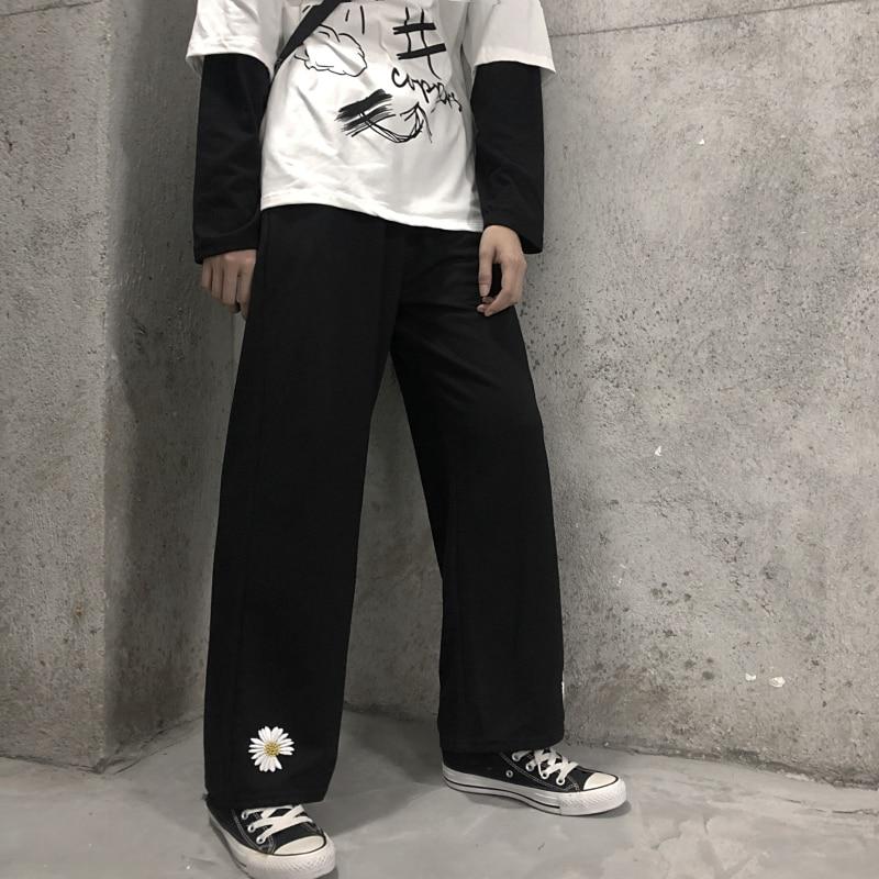 HOUZHOU Vintage Wide Leg Pants 2020 Embroidery Harajuku Pants Korean Style Black Trousers Women Straight Casual High Waist Pants