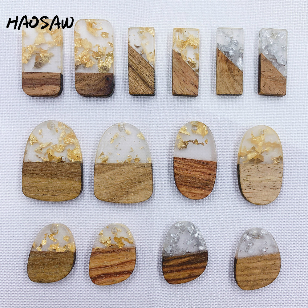 HAOSAW Choose 6Pcs/Lot Wood Material/Irregular/Drilled/Semi Resin/Golden Glitte/DIY Jewelry Making/Hand Made/Earring Findings