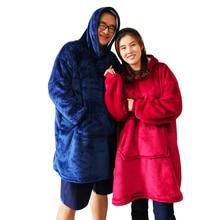 Kış yumuşak sıcak giyilebilir kapşonlu kol ile battaniye mikrofiber peluş açık Hoodie pazen Sherpa polar battaniye