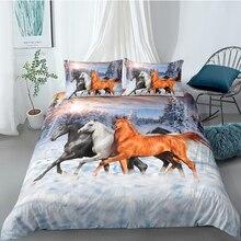 Horses Bedding Set King Size Nature Fresh High End Duvet Cover Snowland Queen Full Twin Single Double Unique Design Bed Set цена 2017