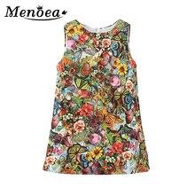Menoea Girl Dress 2019 w europejskim amerykańskim stylu 3-9Y Kids Girls Dress dla dziewczynek dzieci bez rękawów wzór nadrukowany sukienek