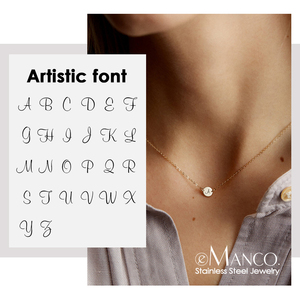eManco 26 Alphabet Choker Necklace Women Girl 316L Stainless Steel Pendants Necklace Gifts for Women Engrave Jewelry on the Neck