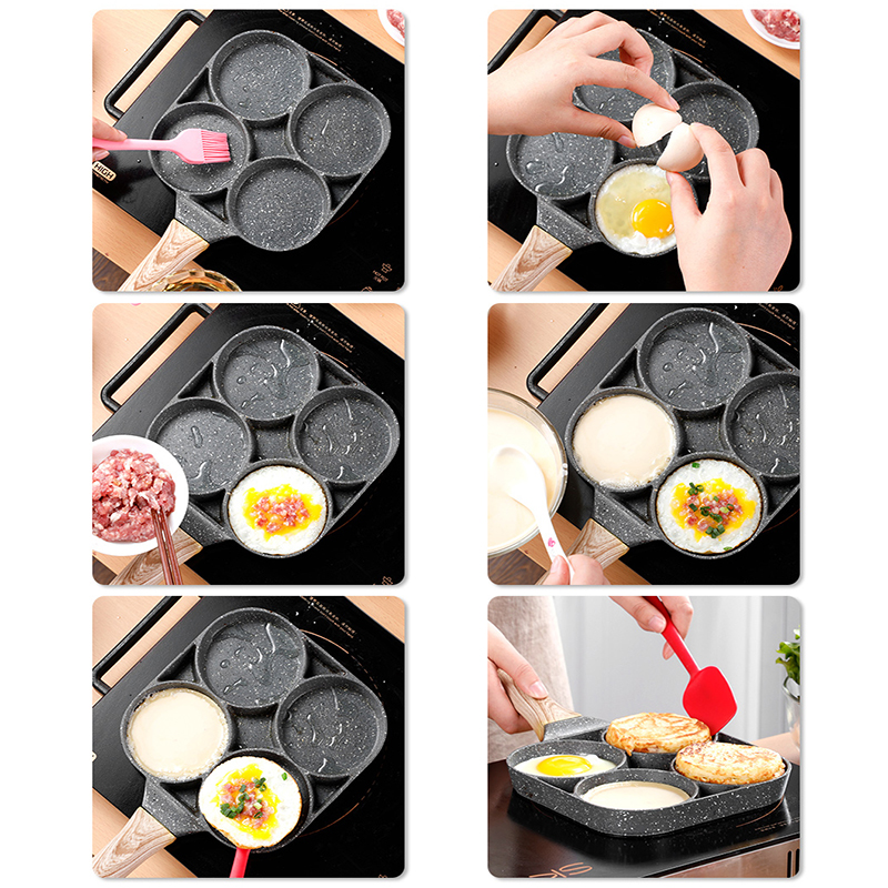Image 4 - 4 hole Omelet Pan for Burger Eggs Ham PanCake Maker Frying Pans Creative Non stick No Oil smoke Breakfast Grill wok Cooking PotPans   -