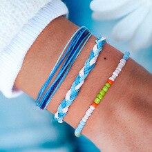 Ailodo 3Pcs/Set Bohemia Woven Bracelets For Women Miyuki Delica Seed Beads Bracelets Fashion Rope Jewelry Girls Gift LD384 straw woven rope beads friendship bracelets set