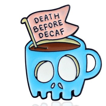 Chest Needle Creative Skull Coffee Cup Dripping Brooch DEATH BEFORE DECAF Denim Jacket Badge Jewelry image