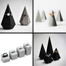 Cement concrete ring holders ornaments simple retro retro jewelry display jewelr