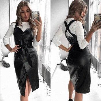 Women Sashes Pu Leather Club Sexy Dress Back Cross Spaghetti Strap Fashion Lady Elegant Dress Knee Length 2019 Vintage v Neck 6