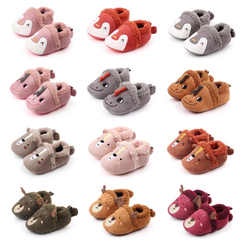 New 8 Colors Cute Animal Print First Walkers Anti-slip Coral Fleece Crib Girls Boys Sneakers Strap Baby Shoes For Drop Shipping