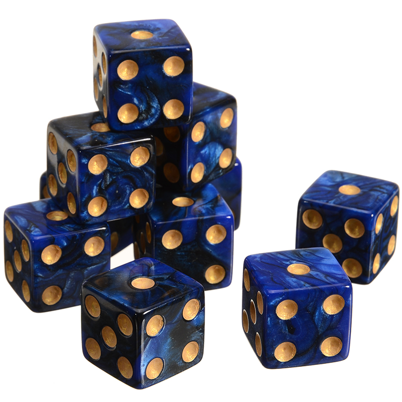 10pcs Blue/Red Acrylic Spot Dice 6 Sided Dice 16mm Dice Portable Table Games Party Tool Right Angle Dice