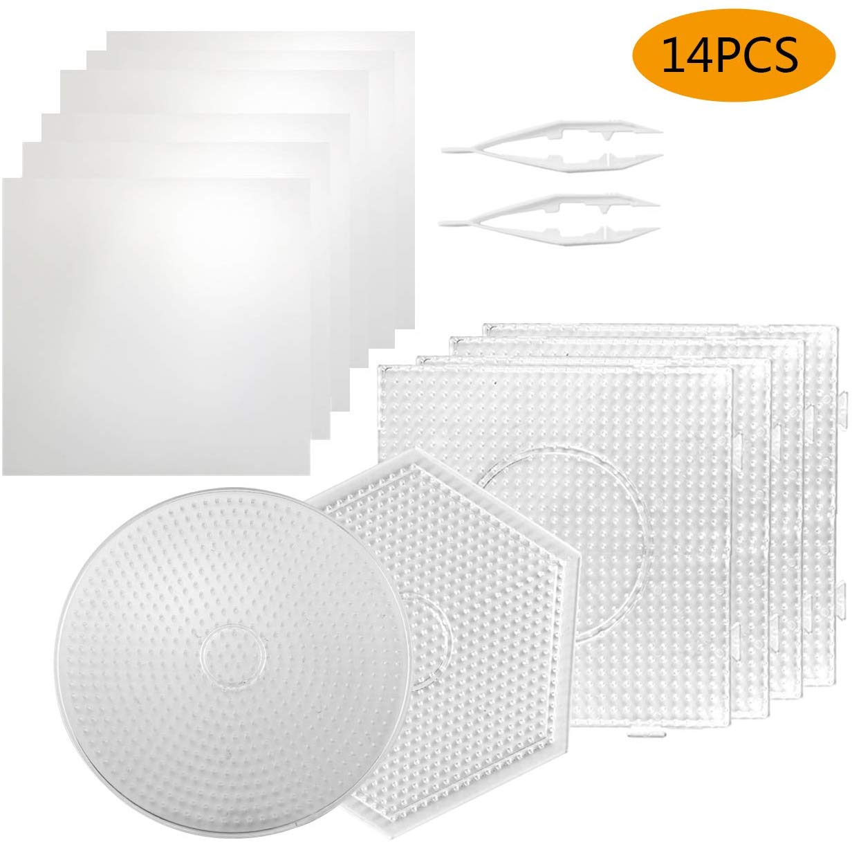 6Pcs 5mm Hama Beads Pegboards Large Clear Plastic Fuse Beads Boards With 6 Ironing Paper /2 White Beads Tweezers For DIY Puzzle