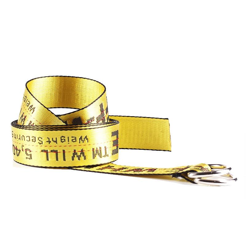 TagerWilen ремень стиль буквы напечатаны мода унисекс двойное D Кольцо холст ремень длинные джинсы ремни для женщин брезентовый мужской ремень - Цвет: Off-Yellow