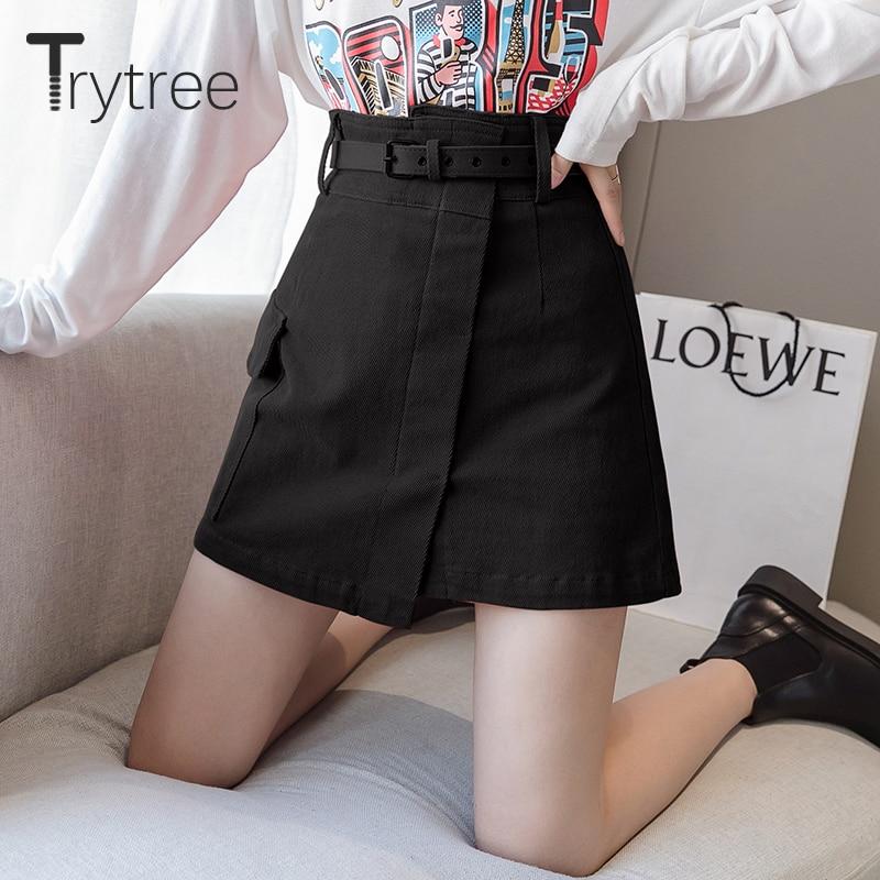 Trytree Autumn Women Casual Empire Short Skirt 5 Colour A-line Fashion Elegant Pockets Button Belt Mini Office Lady Short Skirt